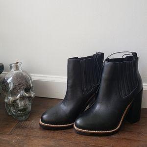NWT Black Leather Heeled Booties